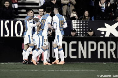 Unai Bustinza celebrando un gol junto a sus compañeros | Foto: CD Leganés
