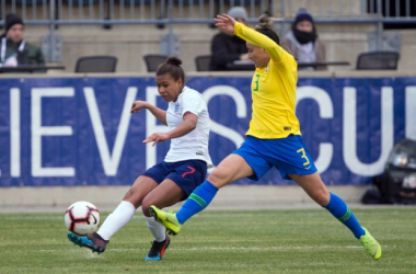 "Nikita Parris plays the ball past the outstretched foot of Jucinara in the first match of the 2019 SheBelieves Cup. | Photo: <span style=""color: rgb(118, 118, 118); font-family: ""Guardian Text Sans Web"", ""Helvetica Neue"", Helvetica, Arial, ""Lucida Grande"", sans-serif; font-size: 12px; font-style: normal; font-variant-ligatures: common-ligatures; text-align: start; background-color: rgb(255, 255, 255);"">Bill Streicher - USA Today Sports</span>"