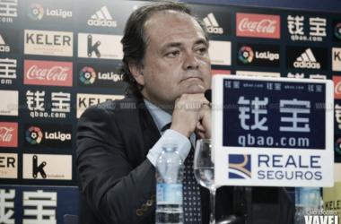 Aperribay durante una rueda de prensa. Foto: Giovanni Batista (VAVEL)