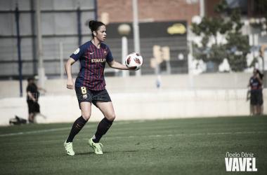 Marta Torrejón durante el partido frente al Espanyol. Fuente: Noelia Déniz (Vavel.com)