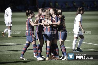Las jugadoras del Fútbol Club Barcelona celebrando un gol en el Estadi Johan Cruyff durante la presente temporada | Foto de Noelia Déniz, VAVEL