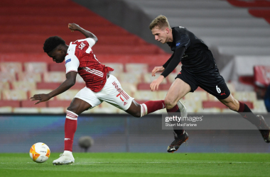 <div>Arsenal FC v Slavia Praha - UEFA Europa League Quarter Final: Leg One</div><div><br></div><div>LONDON, ENGLAND - APRIL 08: Bukayo Saka of Arsenal tripped by David Zima of Slavia Prague during the UEFA Europa League Quarter Final First Leg match between Arsenal FC and Slavia Praha at Emirates Stadium on April 08, 2021 in London, England. Sporting stadiums around Europe remain under strict restrictions due to the Coronavirus Pandemic as Government social distancing laws prohibit fans inside venues resulting in games being played behind closed doors. (Photo by Stuart MacFarlane/Arsenal FC via Getty Images)</div>