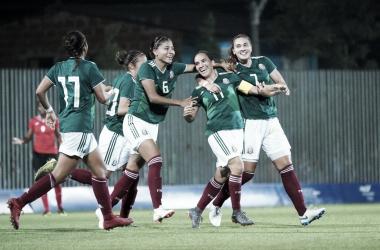 Mónica Ocampo (#11) festeja su gol ante TTO. | Foto: Barranquilla 2018.