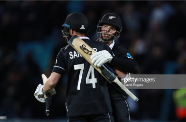 Mitchell Santner and Lockie Ferguson look relieved after they guided New Zealand to a battling victory.