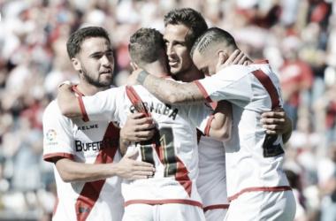 El Rayo celebrando un gol. F oto: Rayo Vallecano S.A.D