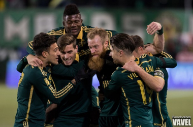 The Portland Timbers celebrating after the 3-1 victory over FC Dallas on Sunday at Providence Park in the first leg of the Western Conference Finals. Photo provided by Brandon Farris-VAVEL USA.