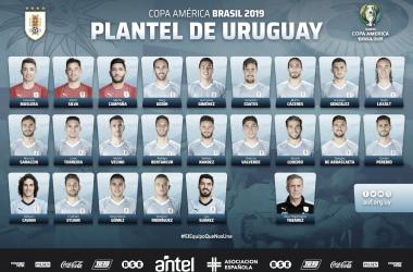 Lista completa de Uruguay para la Copa América en Brasil. | Foto: Twitter AUF