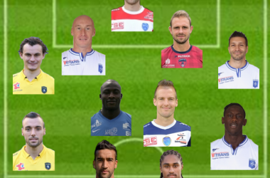 Ligue 2 : Equipe Type de la 30ème journéeSource photo : terrain L'Equipe et joueurs sites officiels des clubs (Photomontage G. Klinguer)