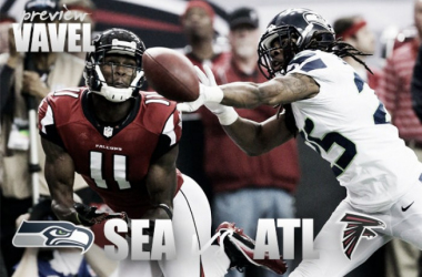 Richard Sherman defends a pass being thrown to Julio Jones. (Source: VAVEL USA)