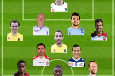 Ligue 2 : Equipe Type de la 31ème journée,photo : terrain L'Equipe et joueurs sites officiels des clubs (Photomontage G. Klinguer)