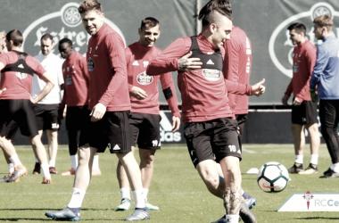 Jugadores del Celta entrenando, la pasada temporada, en A Madroa | Foto: RC Celta