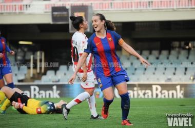 La capitana Marta Unzué, tras marcar el 3-0 (Ernesto Aradilla / Vavel)