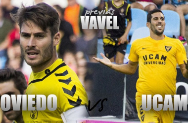 Real Oviedo - UCAM Murcia: comienza la cuenta atrás. (Fotomontaje: VAVEL, Fotos: www.laliga.es)