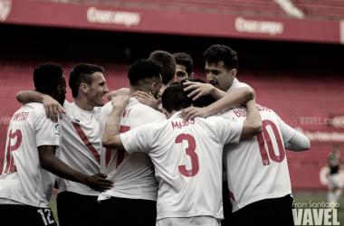 Los jugadores del filial pudieron celebrar hasta seis tantos frente al Pucela | Foto: Fran Santiago (VAVEL)