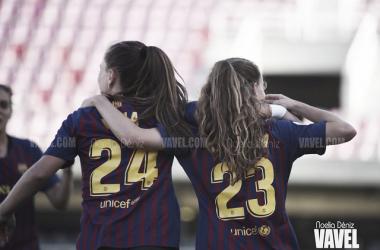 Candela Andújar y Claudia Pina con el FC Barcelona. FOTO: Noelia Déniz