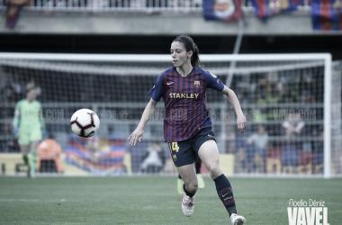 La recién renovada Aitana Bonmatí, durante el partido de vuelta con el Bayern | Foto: Noelia Déniz - VAVEL