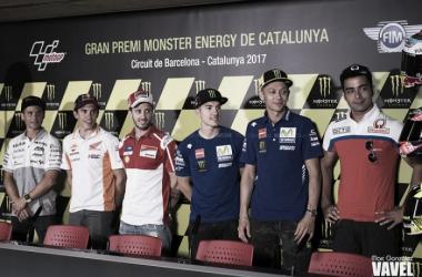 Los pilotos de MotoGP en la rueda de prensa del GP de Catalunya |Foto: Marc González (VAVEL)
