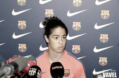 Marta Torrejón en la previa del FC Barcelona - Athletic Club. Foto: Oscar Yeste