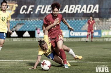 Amanda Sampedro en una acción contra Brasil. Foto: Daniel Nieto