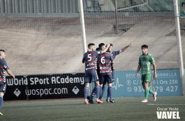 Jugadores de UE Llagostera celebrando un gol | Foto: Óscar Yeste.