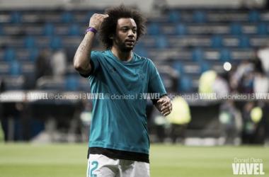 Marcelo en un calentamiento previo a un partido en el Santiago Bernabéu | Foto: VAVEL