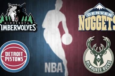 Timberwolves, Pistons, Nuggets y Bucks puedendar más de una sorpresa. | Fotografía: Montaje de Álvaro García
