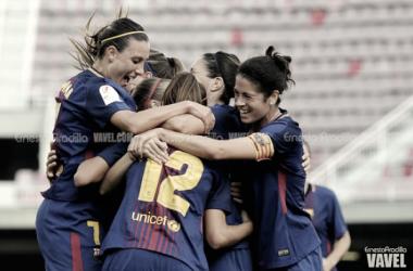 Las chicas celebran el segundo gol del encuentro. Foto: Ernesto Aradilla, VAVEL.com