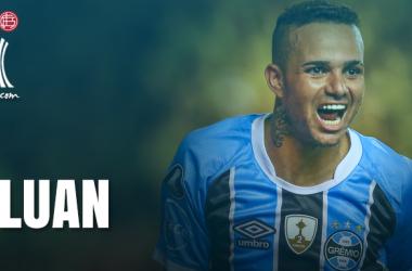 Luan comemorando um dos seus sete gols em jogo válido pela Copa Libertadores (Arte: Rodrigo Rodrigues/VAVEL.com)