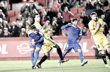 Vítor Silva anotando el 1-2 del pasado derbi | Foto: CF Reus