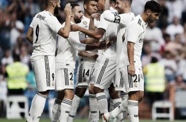 Celebración del primer gol de la noche en el Trofeo Santiago Bernabeu. Foto: Real Madrid