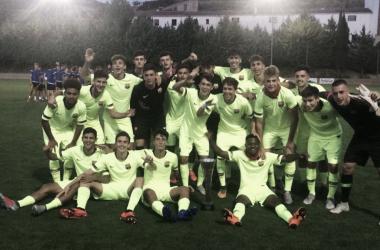 El Juvenil A celebra la victoria | Foto del Fútbol Club Barcelona (@FCBMasia en Twitter)