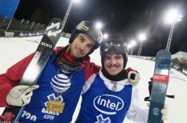 Kevin Rolland and Ben Valentin. (Benoît Lagneux/Le Dauphiné Libéré/Ski Chrono)