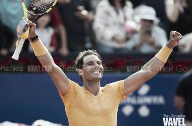 Nadal celebra la victoria de hoy ante Goffin. Foto: Marc González - VAVEL