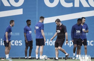 Los jugadores del Fútbol Club Barcelona en un entrenamiento durante la presente temporada   Foto de Noelia Déniz, VAVEL