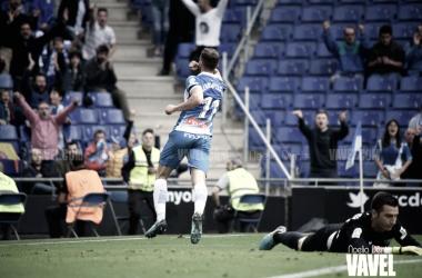 Leo Baptistao celebrando el gol ante el Málaga CF. Foto: Vavel (Noelia Déniz)