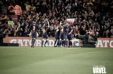 Celebración de uno de los goles ante el Real Madrid en el Camp Nou   Foto de Noelia Déniz, VAVEL
