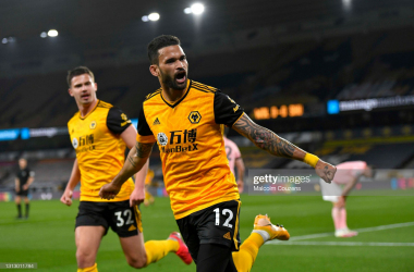 <div>Wolverhampton Wanderers v Sheffield United - Premier League</div><div><br></div><div>WOLVERHAMPTON, ENGLAND - APRIL 17: Willian Jose of Wolverhampton Wanderers celebrates scoring a goal during the Premier League match between Wolverhampton Wanderers and Sheffield United at Molineux on April 17, 2021 in Wolverhampton, England. Sporting stadiums around the UK remain under strict restrictions due to the Coronavirus Pandemic as Government social distancing laws prohibit fans inside venues resulting in games being played behind closed doors. (Photo by Malcolm Couzens/Getty Images)</div>