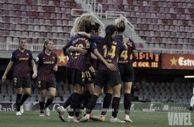 Celebración de uno de los goles en el Miniestadi | Foto de Eduardo Ariño, VAVEL