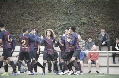 El FCB Cadete A celebrando un gol contra el Rapitenca. Foto: Noelia Déniz, VAVEL