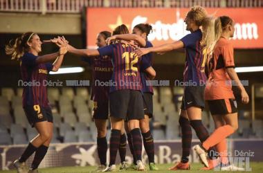 Las jugadoras de Fran Sánchez celebran uno de los goles del encuentro. FOTO: Noelia Deniz