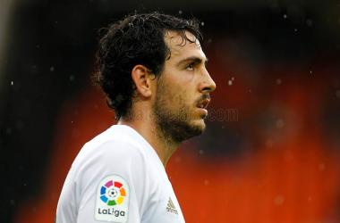 El capitán del Valencia CF,, Dani Parejo, durante el pasado encuentro frente al C.D.Leganés en Mestalla.