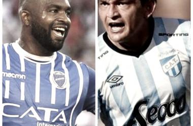 """Santiago """"Morro"""" García y Luis """"el Pulga"""" Rodríguez: delanteros estrellas. Montaje: Nicolás Castillo."""