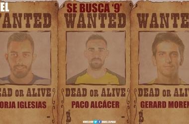 Borja Iglesias, Paco Alcácer y Gerard Moreno. | Montaje: Dani Souto (VAVEL)
