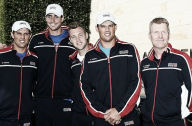 The U.S. Davis Cup team: from l. to r.: Bob Bryan, John Isner, Jack Sock, Mike Bryan and captain Jim Courier: Photo: USTA