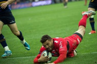 L'essai de Bryan Habana qui offre la victoire aux Toulonnais. Crédit: AFP/Bertrand Langlois