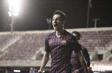Alejandro Marqués celebra un gol con el juvenil del Barça. FOTO: Noelia Déniz