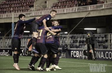 El equipo celebrando el gol de Abel Ruiz | Foto de Noelia Déniz, VAVEL