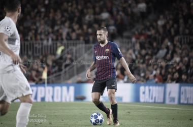 Jordi Alba en un partido de FC Barcelona, Foto: Noelia Deniz, VAVEL