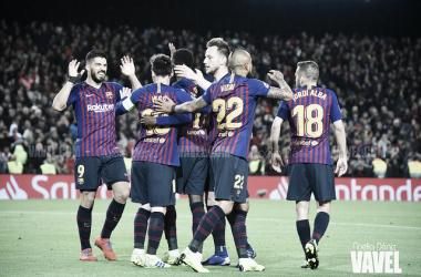 Imagen de archivo de los jugadores del FC Barcelona celebrando un gol. FOTO: Noelia Déniz