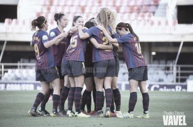 Las azulgranas celebrando un gol en una imagen de archivo / Foto: Noelia Déniz (VAVEL.com)